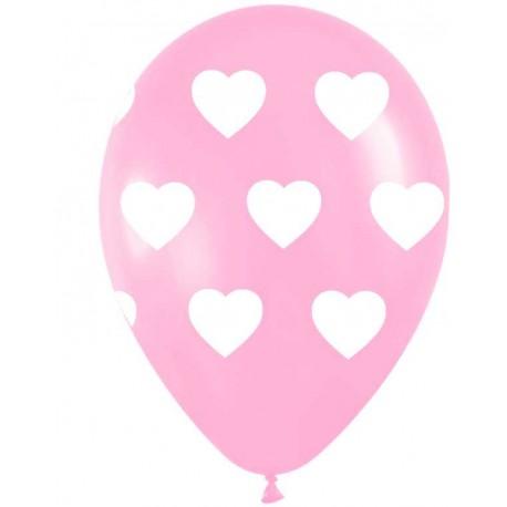 """Globos redondosde 11"""" (28Cm) Rosa con corazones"""