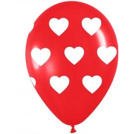 """Globos redondos de 11"""" (28Cm) Rojo con corazones"""