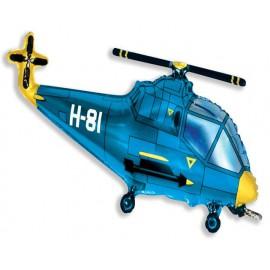 """Globos de foil de 22"""" X 38"""" (57cm x 96cm) Helicoptero Azul"""