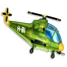 "Globos de foil de 10"" X 17"" (25cm x 43cm) Helicoptero Verde"