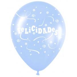 "Globos de 12"" Felicidades Azul Pastel"