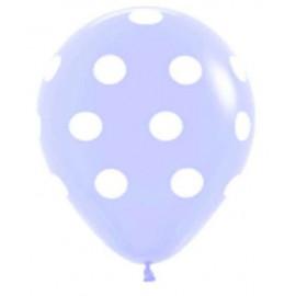"Globos de 12"" Polka Azul PASTEL"