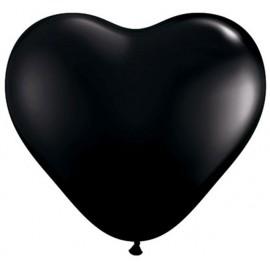 "Globos de 6"" (15Cm) corazones Negro Qualatex"