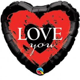 "Globos de foil mini 9"" (23Cm) Love You Rojo y Negro"