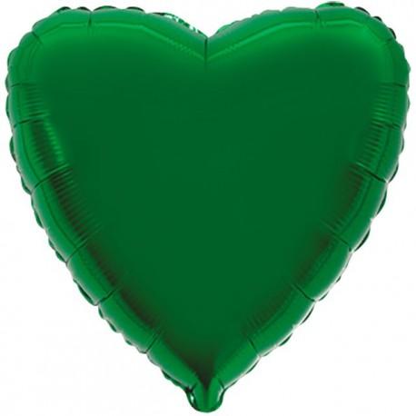 """Globos de foil corazones 9"""" Verde"""