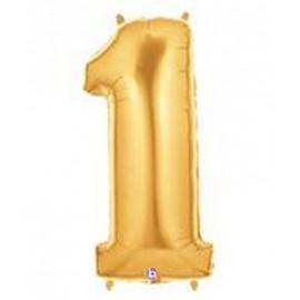 "Globos de Foil de 14"" (36cm) Numero 1 ORO"