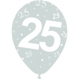 Globos R-12 (30Cm) Numero 25 Plata