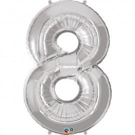 "Globos de Foil de 34"" (86cm) x 42"" (107Cm) Numero 8 Plata"