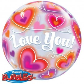 """Globos de foil de 22"""" Bubbles Love You Doodle"""