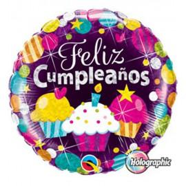 """Globos de foil de 18"""" (45Cm) Feliz Cumple Cupcakes"""