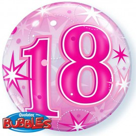 "Globos de foil de 22"" Bubbles 18 Cumple Rosa Starbust"