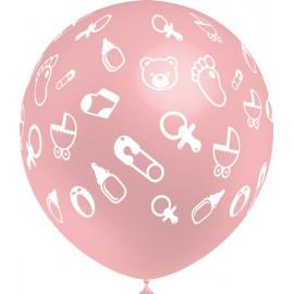 """Globos de 12"""" Baby Rosa Metal Balloonia"""