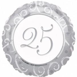 "Globos de foil 18"" (45Cm) 25 Aniversario"