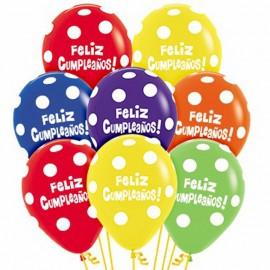 Globos R-12 (30Cm) Surtido feliz cumpleaños Polka
