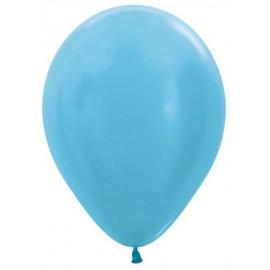 """Globos redondos de 5"""" Azul Caribe satín perlado"""