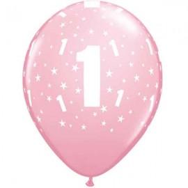 "Globos de 11"" Número 1 Rosa Qualatex"