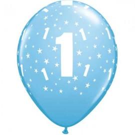 """Globos de 11"""" Número 1 Azul Claro Qualatex"""