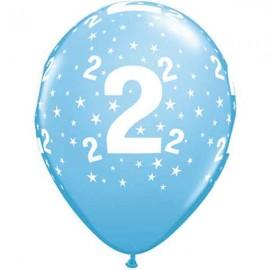 """Globos de 11"""" Número 2 Azul Claro Qualatex"""