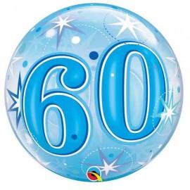 """Globos foil de 22"""" Bubbles 60 Azul Starbust"""