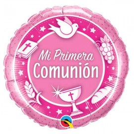"""Globos Foil 18"""" (45Cm) Mi Primera Comunión ROSA Qualatex"""