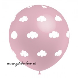 "Globos Rosa Baby de 12"" Nubes Blanco Balloonia"