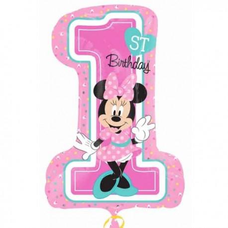 "Globos Foil supershape de 19"" X 28"" Minnie 1st Cumple"