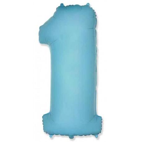 "Globos de Foil de 38"" (97cm) número 1 Azul Pastel"