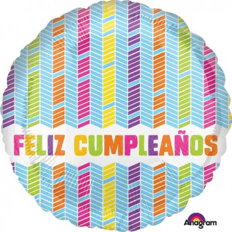 "Globos de foil 17"" (43Cm) Feliz Cumpleaños Chevron"