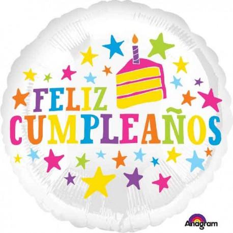 """Globos de foil 17"""" (43Cm) Feliz Cumpleaños Estrellas"""