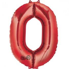 """Globos de Foil de 35"""" x 25"""" (88cm x 63cm) número 0 Rojo"""