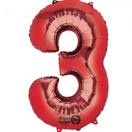 """Globos de Foil de 34"""" x 20"""" (86cm x 50cm) número 3 Rojo"""