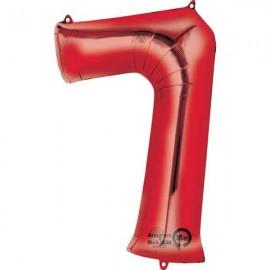 """Globos de Foil de 35"""" x 22"""" (88cm x 55cm) número 7 Rojo"""