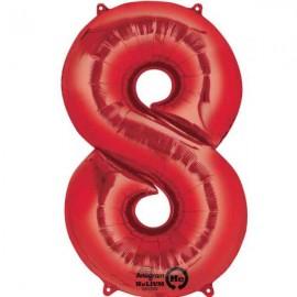 """Globos de Foil de 34"""" x 21"""" (86cm x 53cm) número 8 Rojo"""