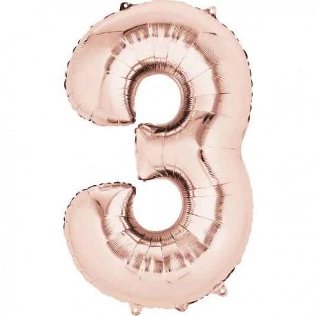 """Globos Foil de 34"""" x 20"""" (86cm x 50cm) número 3 Rosa Dorado"""
