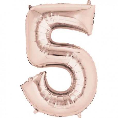 """Globos Foil de 33"""" x 23"""" (83cm x 58cm) número 5 Rosa Dorado"""