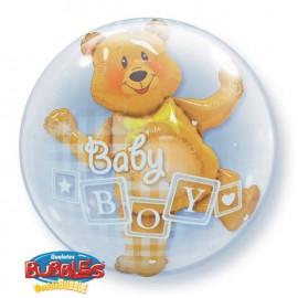 """Globos de foil de 24"""" Bubbles doble Baby Boy"""