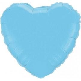 """Globos de foil Corazón de 10"""" Celeste con palito"""