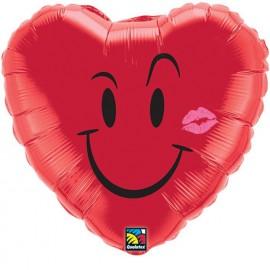 """Globos de foil de 18"""" Corazón sonriente con beso"""