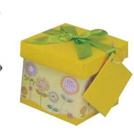 Caja de regalo extra pequeña (10,3 x 10,3 x 9,8) amarillo flores