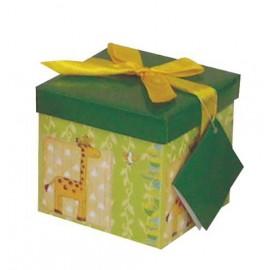 Caja de regalo pequeña (12,8 x 12,8 x 12,2) verde y jirafas