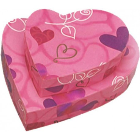 Caja de regalo corazon (15,3 x 13,5 x 3,6) rosa y corazones