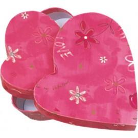 Caja de regalo corazon (15,3 x 13,5 x 3,6) rosa y flores