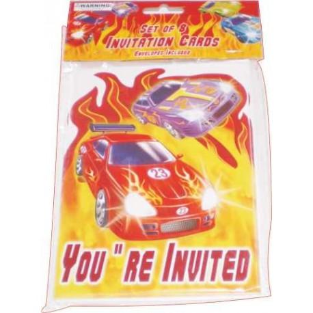 Invitaciones temática coches de carreras 8uni