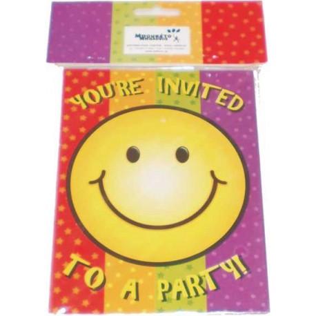 Invitaciones temática carita sonriente 8uni