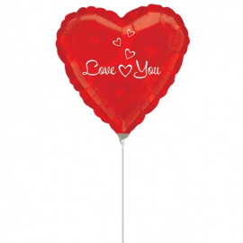 """Globos de foil de 9"""" Iove you y corazones"""