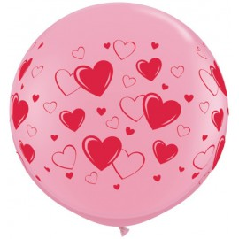 Globos gigantes de 3FT Rosa Corazones Qualatex