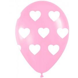 """Globos redondos de 11"""" (28Cm) Rosa con corazones"""