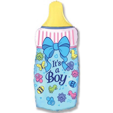 """Globos de foil Supershape de 31"""" x 17"""" (80cm x 43cm) Biberón azul niño"""
