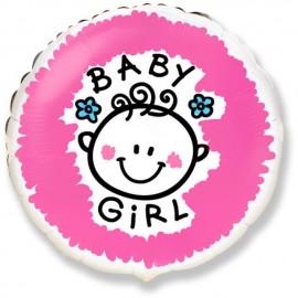 """Globos de Foil Redondos de 18"""" (46Cm) Baby Girl"""