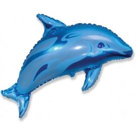 Globos de foil supershape de 56cm x 95cm Delfín Azul